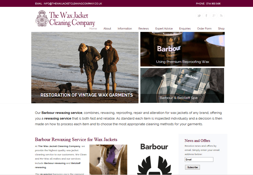 Dry Cleaning Company Website Design