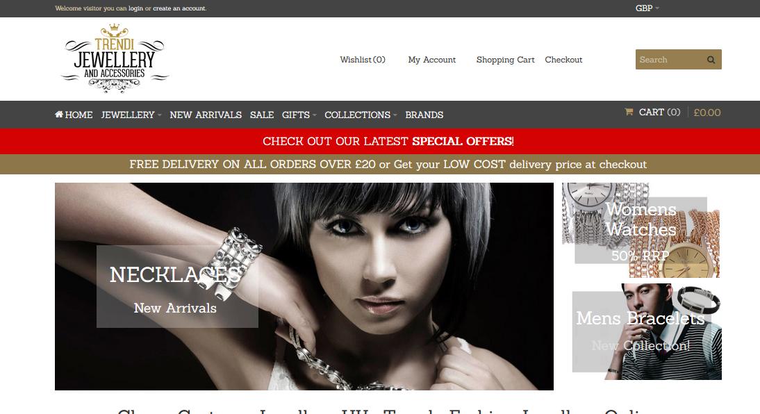 trendi-jewellery website design