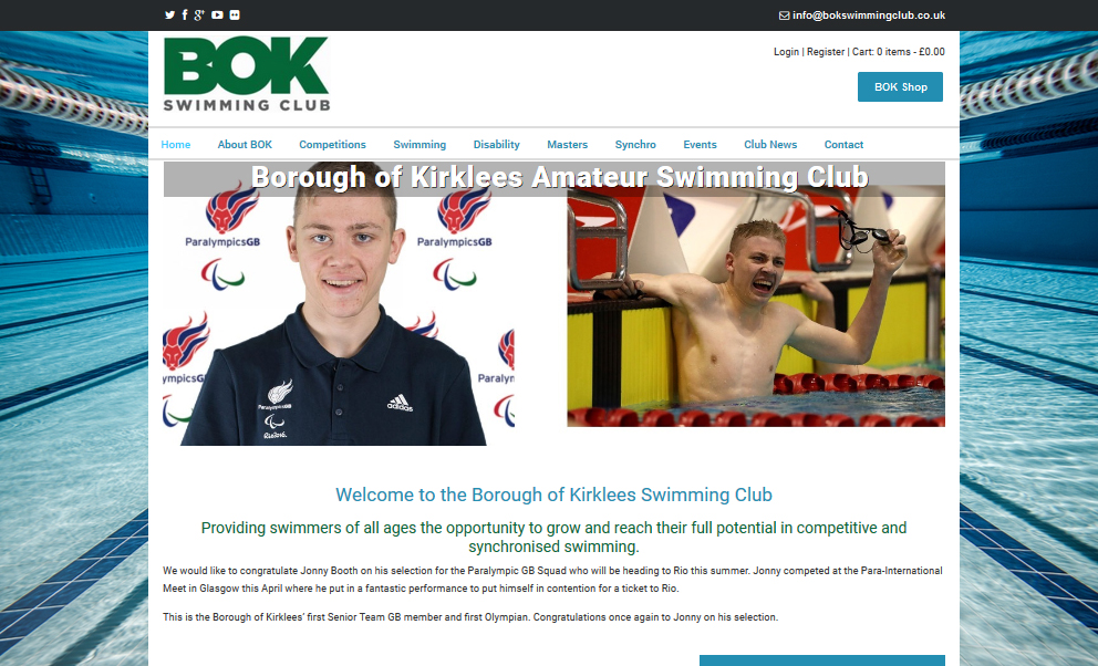 bok swimming club web design