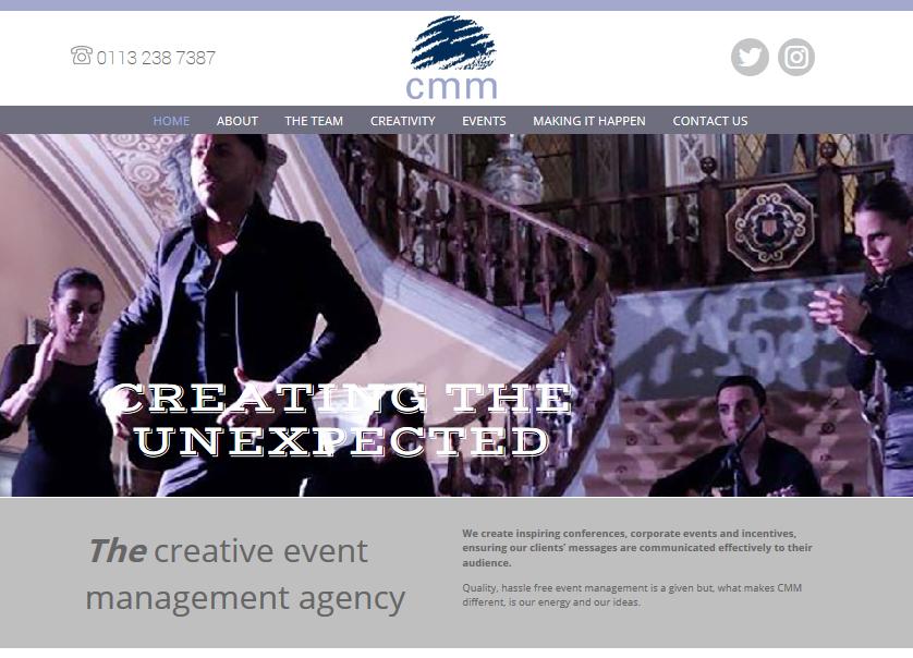 events management website design