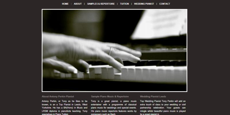 Bespoke design for a pianist website