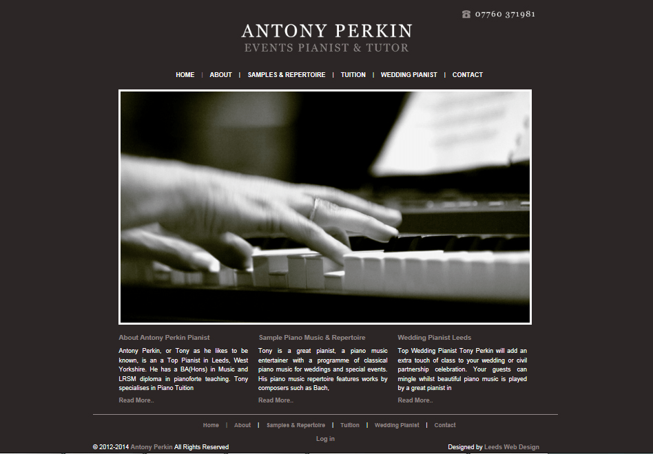 Bespoke design for a pianist website