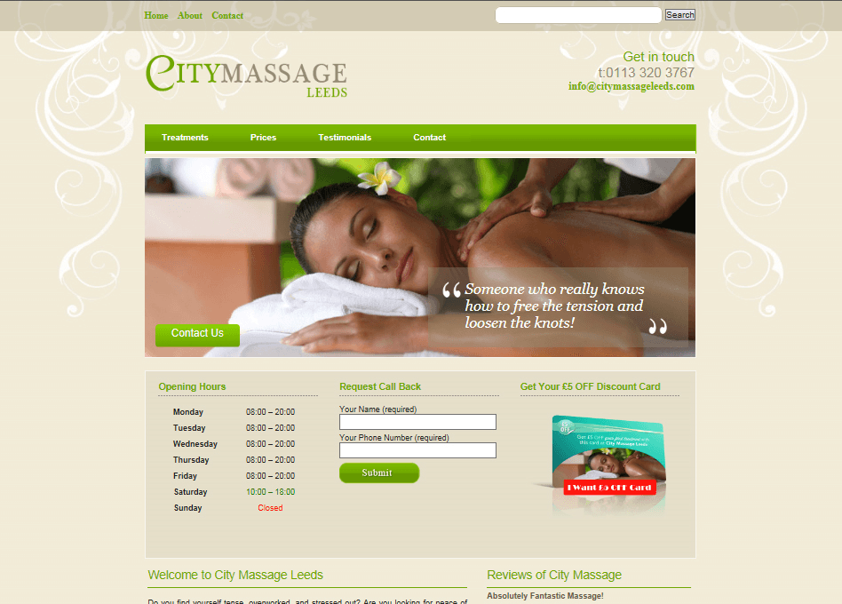 massage website design