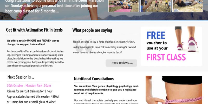 personal trainer website design leeds