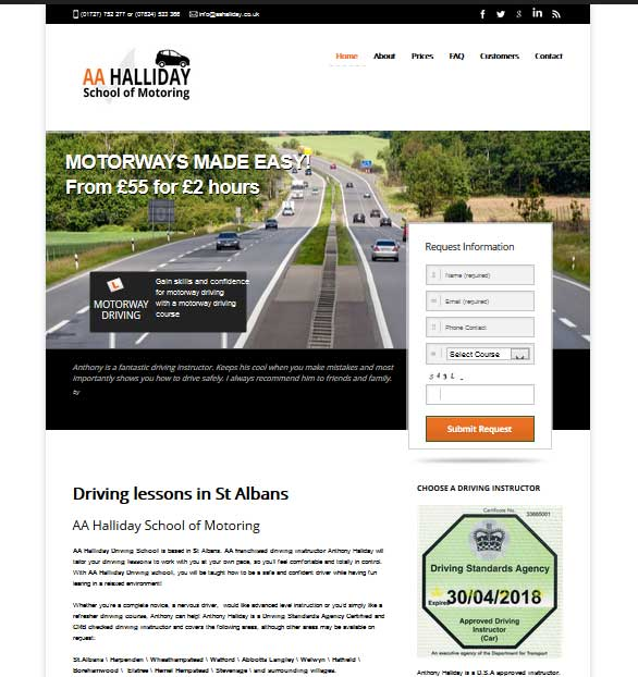 driving instructor website theme design
