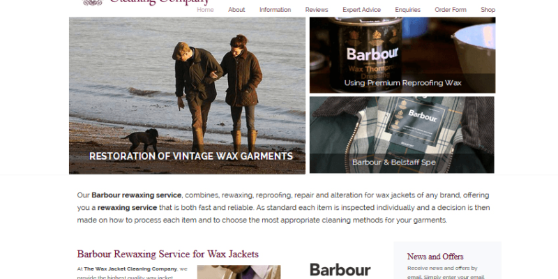 bespoke website for dry cleaners