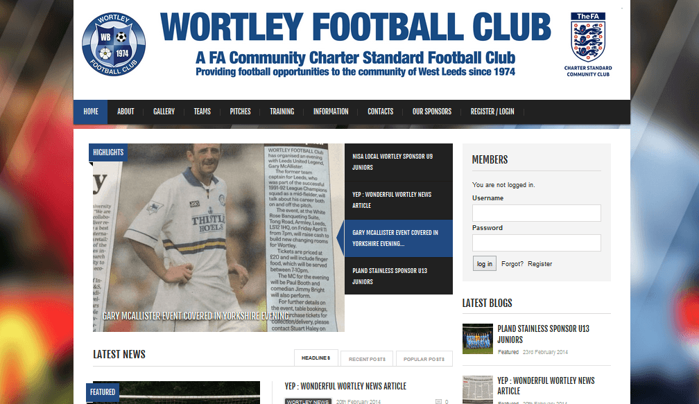 web design for fottball club