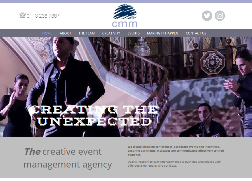 events management website design